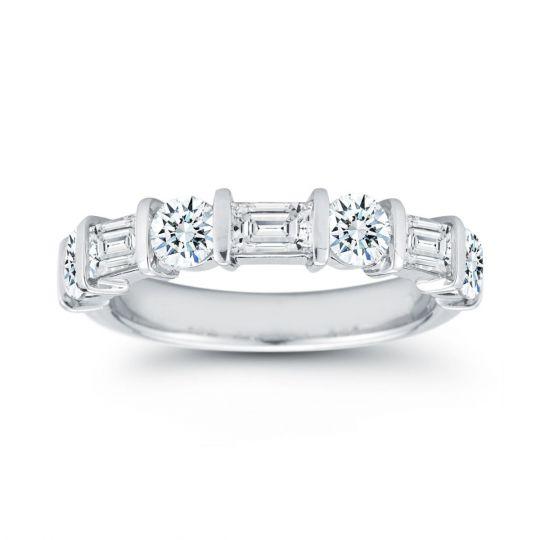 Platinum Round & Baguette Diamond Wedding Band, 1.77cttw   Borsheims