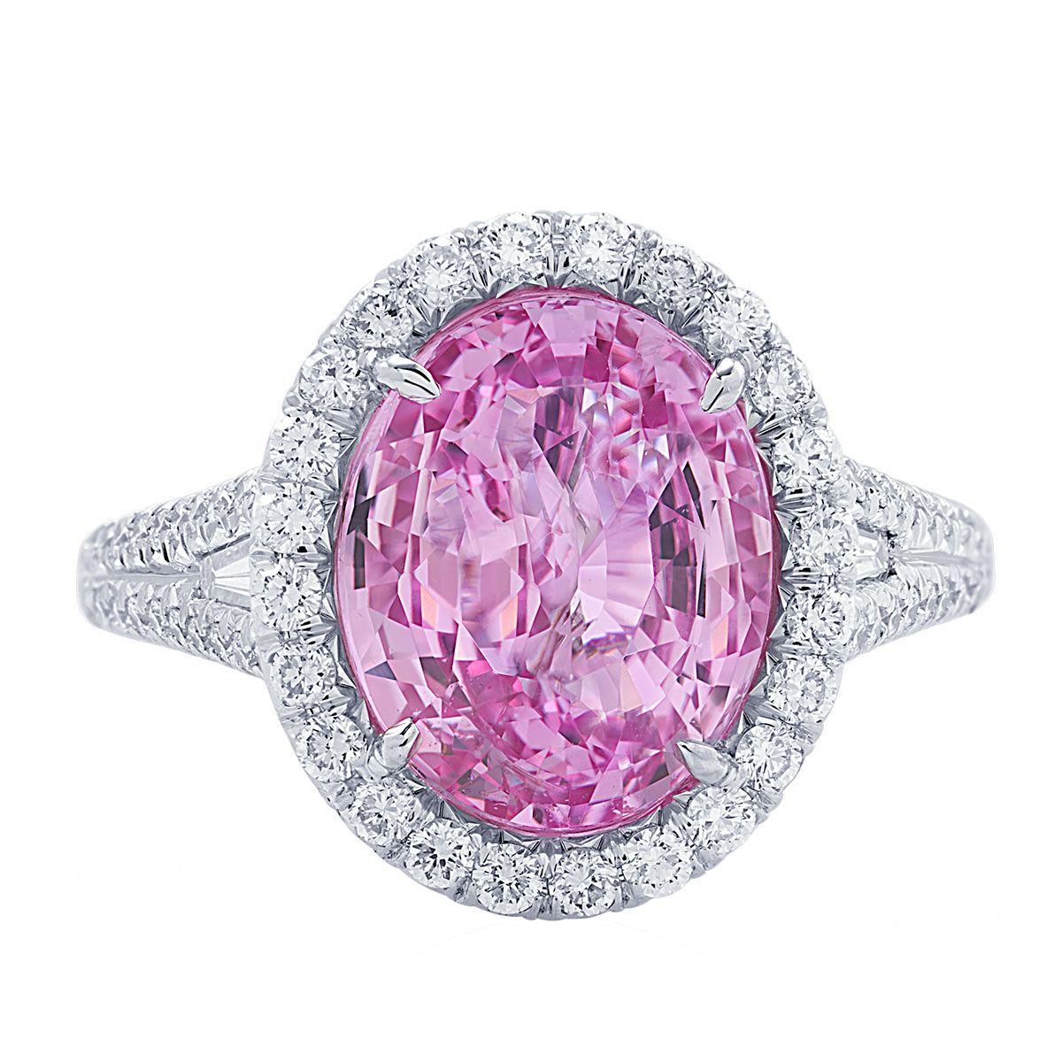 JB Star Platinum Oval Madagascar Pink Sapphire & Diamond Halo Ring ...