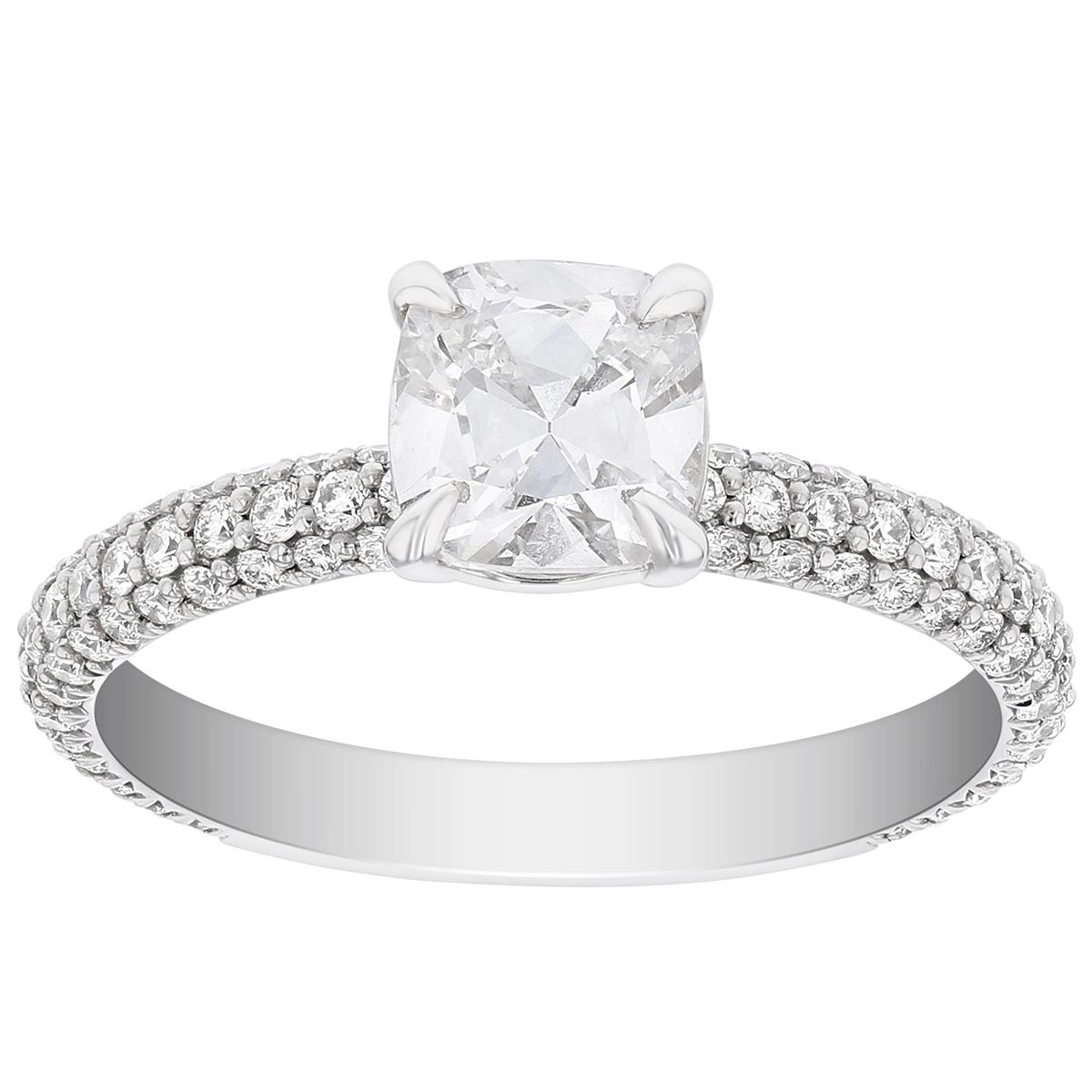 Elege 18K White Gold Cushion Diamond Ring With Diamond