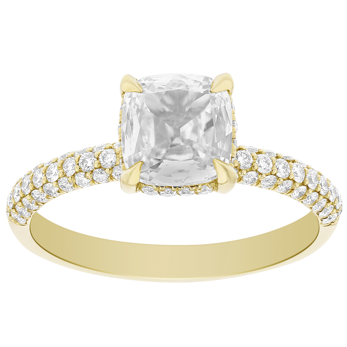Elege 18K Yellow Gold Cushion Diamond Ring With Diamond