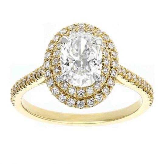 585b49ac9f1c9 Elege 18K Yellow Gold Oval Diamond Double Halo Ring, 1.01 ct