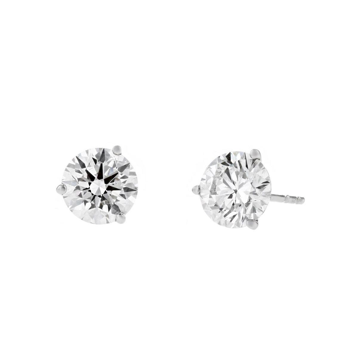 14k White Gold Lab Grown Diamond Martini Round Stud Earrings 1 83cttw