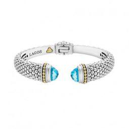 Lagos 8mm Sterling Silver Caviar Hinge Cuff Bracelet sbOrTab